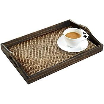Top Amazon.com: Dark Brown Rectangular Wood and Rattan Breakfast  DT01