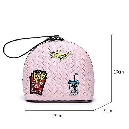 90327 Dessinée Crossbody De Chaîne Sacs Body Bandoulière Bags Sacs Bandoulière Mini à Small Pink Bande Womens Sacs à Messenger r0rBPz4