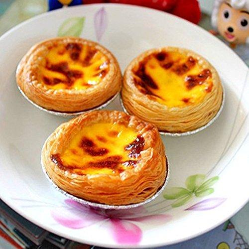 Show Perfect shopping 50 Pcs Kitchen Disposable Baking Circular Egg Tart Tins Cake Cups Foil Tart Pie Pans with Stylus - Silver Tone price