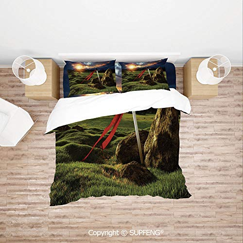 - SCOXIXI 3D Bedding Sets Arthur Camelot Legend Myth in England Ireland Fields Invincible Sword Image (Comforter Not Included) Soft, Breathable, Hypoallergenic, Fade Resistant