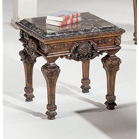 Ashley Furniture Signature Design Casa Mollino End Table Square Traditional With Ornate Accents Dark Brown