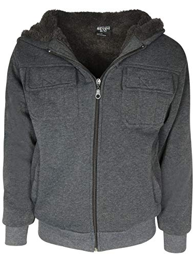 (Quad Seven Boys Sherpa Hooded Fashion Sweatshirt, Charcoal Safari, Size 8/10')