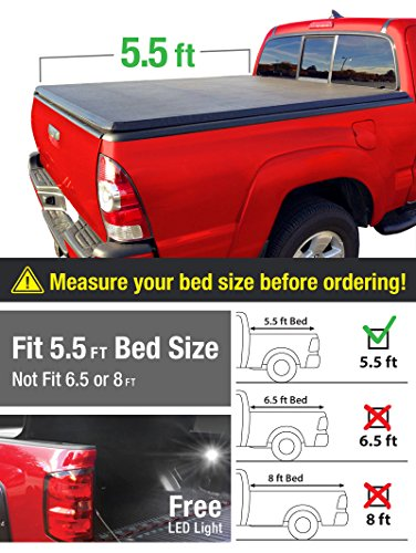 Premium TriFold Tonneau Truck Bed Cover For 2015-2016 F150 Short 5.5 feet (66 inch) Bed Trifold Truck Cargo Bed Tonno Cover (Short Bed Seal)