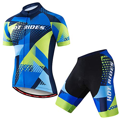 Hot Rides Men's Quick Dry Cycling Jersey and 3D Gel Padded Shorts Set Geometry Blue/Green -