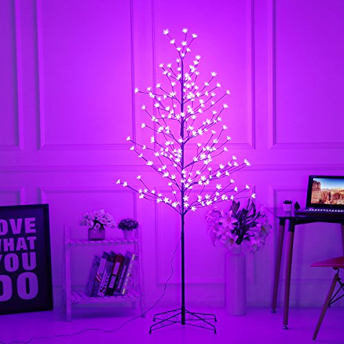 Bolylight LED Cherry Blossom Tree 6ft 208L & Indoor and Outdoor Decoration Lighted Tree for Bedroom/Party/Wedding/Office/Home Light Purple -