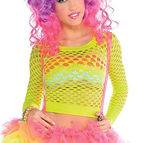 4d709b8e489 Image Unavailable. Image not available for. Color  Neon Citric Green  Fishnet Top