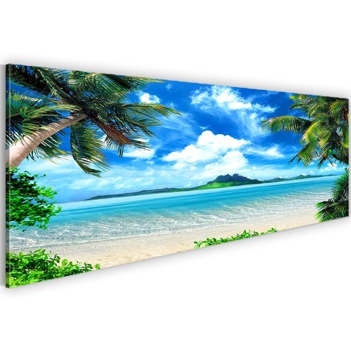 Bild-Kunstdruck-Prestigeart-603311a-Bilder-auf-Vlies-Leinwand-XXL-Kunstdrucke-Paradise-Island-120-x-40-cm-Ocean-Meer-Beaches-Wandbild