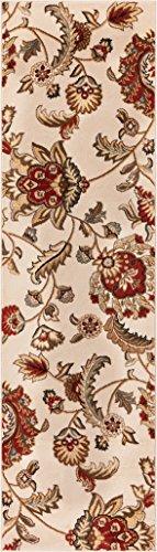 Well Woven Grand Garden Ivory Floral Oriental Modern Formal Rug 2x7 (2'3