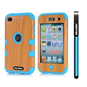 CowCool Apple Itouch 4 Case Silicone With Hard Pc Wood Grain 2in1 Hybrid High Impact Protective Case For Itouch 4(Sky Blue)