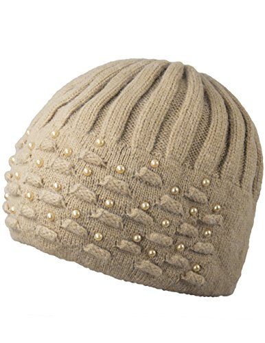 Dahlia Women's Angora Blend Beanie Hat - Dual Layer Pearl Accent Edge - Tan