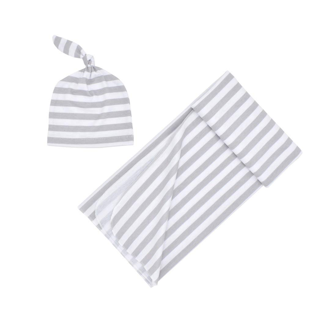 Caingmo Newborn Rayon Cotton Swaddle with Baby Hat Set Stripes Printed Receiving Blanket Wrap Top Knot Stretch Cap Photography Prop