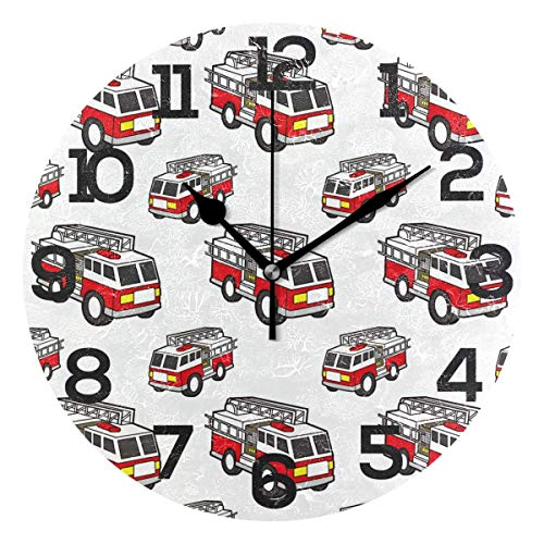 (Dozili Cartoon Fire Engine Pattern Round Wall Clock Arabic Numerals Design Non Ticking Wall Clock Large for Bedrooms,Living Room,Bathroom)