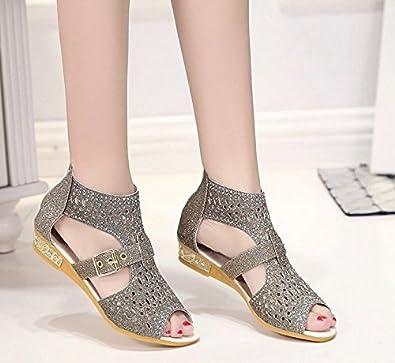 Sommer Rom Schuhe Hoch Hilfe Fisch Mund Hohlen Sandalen Keilabsatz