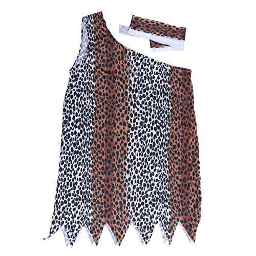 BESTOYARD Halloween Indian Indigenous Clothes Indian Costumes Savage Costumes Adult Leopard Clothing Size 5XL ()