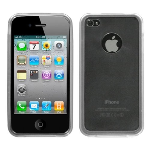 Transparent Smoke/Transparent Clear Gummy Cover For APPLE iPhone 4S/4/4G