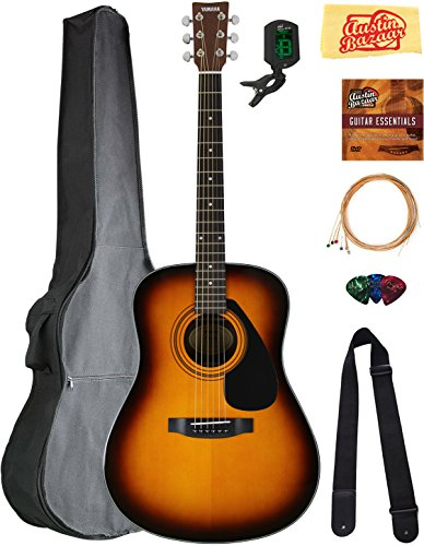Yamaha F325D Dreadnought Acoustic Guitar – Tobacco Sunburst Bundle with Gig Bag, Tuner, Strings, Strap, Picks, Austin Bazaar Instructional DVD, and Polishing Cloth