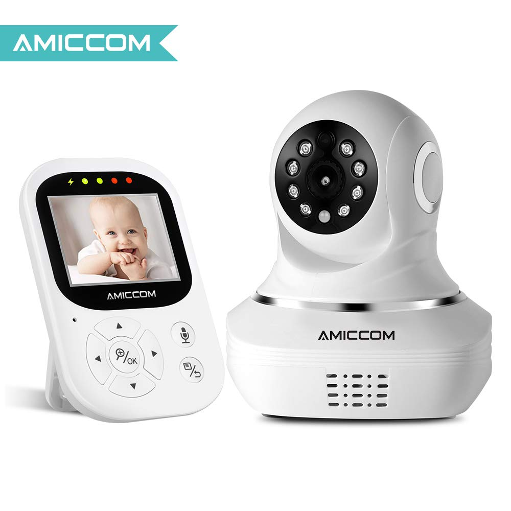 Baby Monitor, Video Baby Monitor 2.4HD LCD Screen, Baby Monitors with Camera and Audio Night Vision,Support Multi Camera,ECO Mode,Two Way Talk Temperature Sensor,Built-in Lullabies (New Vision) AMICCOM