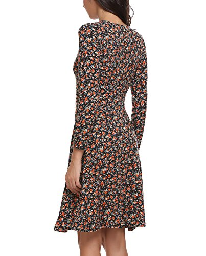 Zeagoo Damen Sommerkleider Jerseykleid Wickelkleid Vintage Blumen ...
