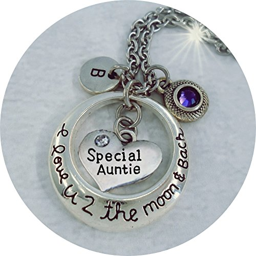 Special Auntie I Love U 2 the Moon and Back Necklace w-Swarovski birthstone & Letter Charm, made - Emporium Womens