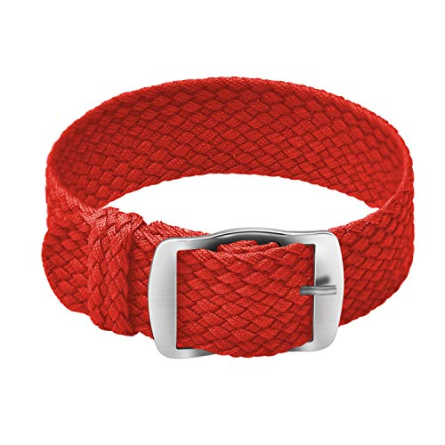 Ullchro Nylon Watch Strap Replacement Perlon Braided Woven Watch Band NATO Men Women - 14mm, 16mm, 18mm, 20mm, 22mm Watch Bracelet with Stainless Steel Silver Buckle (18mm, Red)