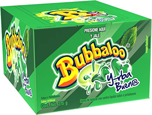 Liquid Center - Bubbaloo Yerbabuena. Pepermint Bubbaloo Mexican Chewing Gum - 1 Pack 50 pcs.