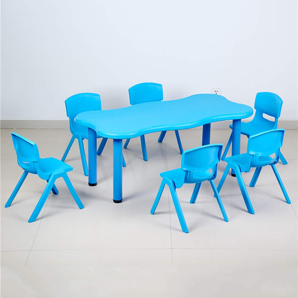 Rectangular Activity Table Set with 6 Chairs Kids Nursery Kindergarten Plastic Long Desk and Stack Chairs for Toddler 2-8 Years Old by Children Desk