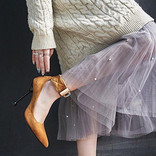Retro Aisun Braun Spitze Knöchelriemchen Zehen Klettverschluss Sexy mit Strass Damen Stiletto Pumps q4w4EUZ