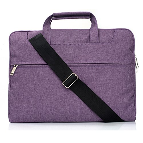 TechCode 13.3 inch Laptop Sleeve, 360° Protective Multifunctional Pouch Business Shoulder Bag Briefcase Handbag Carrying Case for 13-13.3 Inch MacBook Pro/Air/Dell Inspiron 13/13.3 Notebooks(Purple)