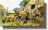 chicken artwork - Donkey Mule Chicken Farm Kitchen Picture on Stretched Canvas, Wall Art Décor, Ready to Hang!
