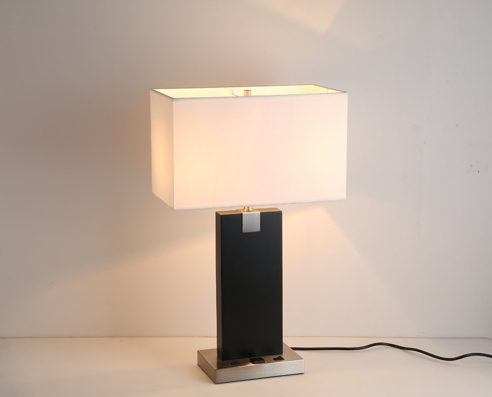 Lobolighting Wood Desk Lamp Table Lamp With Electric Power Outlet