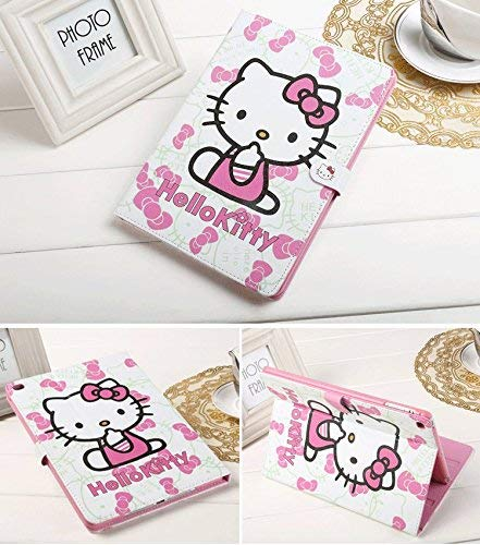 Apple New iPad 9.7 case 2017 2018 ipad 5th 6th Generation A1822 A1823 A1893 A1954, Hello Kitty Design Folio Style PU Leather Hard Case for Apple New iPad 9.7 inch Case 2018 2017 Generation, Pink