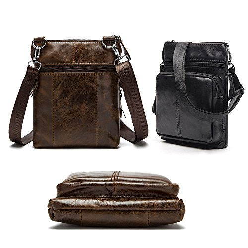 2 Vintage Purse With Crossbody Carrying Genuine Leather Ways Bag Men's Notag Messenger Bag Casual Strap Shoulder Adjustable Coffee Handbag ZfvXR6xW6