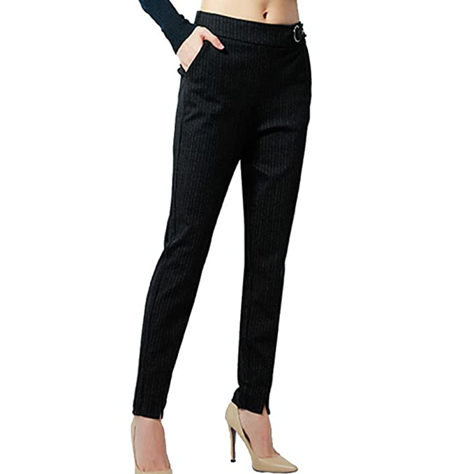 4d450e22b21e MissFox Donna Eleganti Classici Pantaloni Skinny Neri Sigaretta Pantaloni  con Elastico in Vita: Amazon.it: Abbigliamento