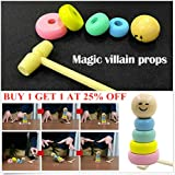 Halloween Wooden Man Magic Toy,Rainbow Stacking Rings,Puppet Man Who Can t Beat Tumbler,Funny Magic Toy Gift for children Adult,Child Marionette Interactive Toys for Christmas Party (B)