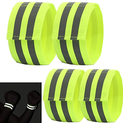 YUNYILAN Reflective Wristbands/Belt/Armbands/Ankle Bands,High Visibility Reflective Band for Wrist,Men Women for Night Running Cycling Walking Bicycle. Safety Reflector Tape (4 -