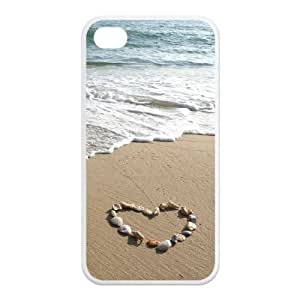 Mystic Zone Fantastic Sea World Scenery Seashell Heart in Sand Case for iPhone 4 4S Cover Fits Case KEK1731