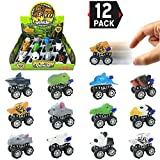 Liberty Imports 12 Pack Large Monster Pull Back Cars, Animal Pull Back and Go Vehicles Toy Playset for Kids & Toddlers