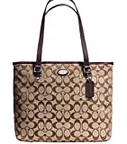 COACH SIGNATURE ZIP TOP TOTE HANDBAG Khaki/Mahogany F36375