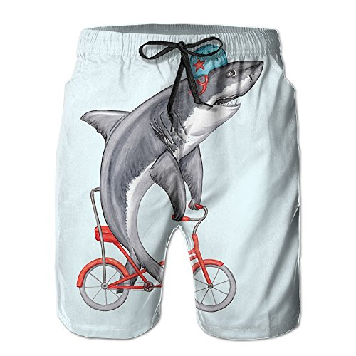JH SPEED Mens Surf Beach Shorts Swim-trunks Quick Dry Funny Shark On Bike Board Shorts With Pocket SizeNme