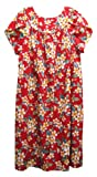 RJC Womens Yellow Plumeria Tea Length Muumuu Dress Red 3X Plus
