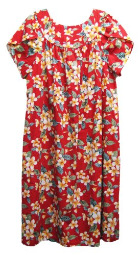 RJC Womens Yellow Plumeria Tea Length Muumuu Dress Red 3X Plus by RJC