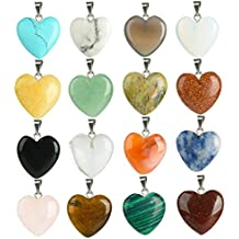 16 PCS Stone Pendants Heart Shaped Pendants Crystal Healing Charkra Beads Quartz Stone Pendants Charms for Necklace Jewelry Marking
