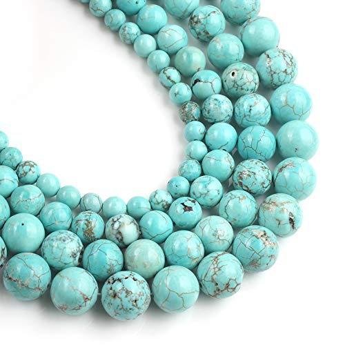 Yochus 6mm Blue turquoises Round Loose Beads Stone Beads for Jewelry Making