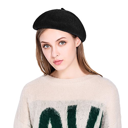 VBIGER Women French Beret Hat Solid Color Cotton Beanie Cap Light Weight Knit Hat (Black)