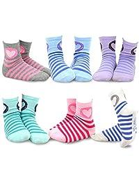 TeeHee Kids Girls Cotton Fashion Fun Crew Socks 6 Pair Pack