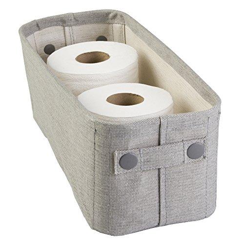Elegant MDesign Cotton Fabric Bathroom Storage Bin For Magazines, Toilet Paper,  Bath Towels   Small, Light Gray