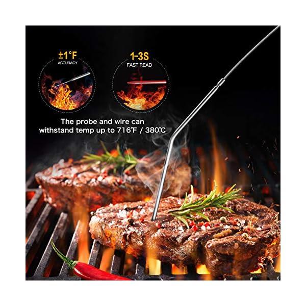 """Cocoda Termometro Cucina, Doppia Sonda Lunga da 6.4"""" Termometro Barbecue a Lettura Istantanea, Impermeabile Termometro Carne con Controluce LCD e Timer Cucina, per Forno Grigliare Caramelle Latte 2"""