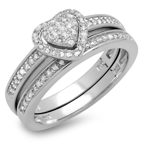 Dazzlingrock Collection 0.23 Carat (ctw) Sterling Silver White Diamond Ladies Engagement Ring Set 1/4 CT, Size 5