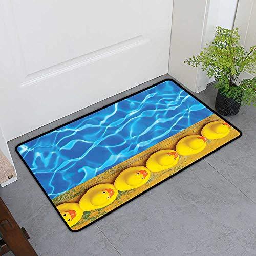 - Custom&blanket Boots Scraper Mat, Yellow and Blue Indoor Doormats for Office, Cute Rubber Ducks Lined Up Near The Pool Azure Water Fun Summer (Aqua Orange Yellow, H16 x W24)