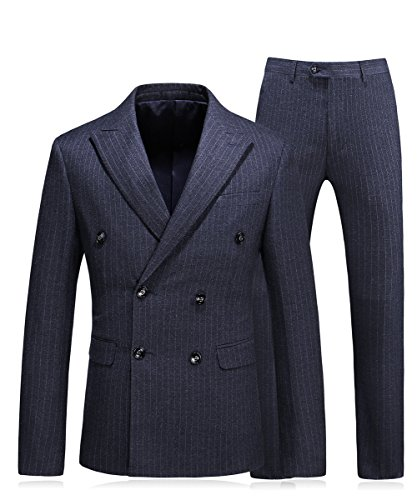 MOGU Mens Double Breasted Pinstripe 3 Piece Suit Slim Fit Blazer Jacket & Trousers & Waistcoat US Size 42 (Asian 4XL/58) ()
